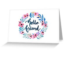 Hello Friend Floral Wreath Hand Lettering Brush Writing Greeting Card