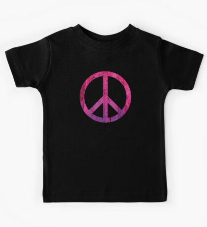 Peace Sign - Grunge Texture with Scratches Kids Tee