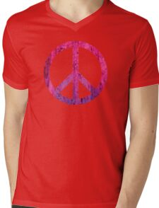 Peace Sign - Grunge Texture with Scratches Mens V-Neck T-Shirt