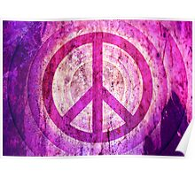 Peace Sign - Grunge Texture with Scratches Poster