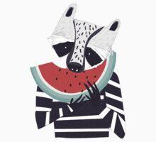 Raccoon eating watermelon Kids Tee
