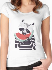 Raccoon eating watermelon Women's Fitted Scoop T-Shirt