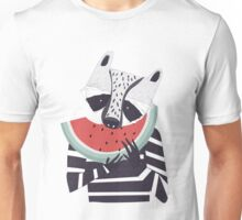 Raccoon eating watermelon Unisex T-Shirt