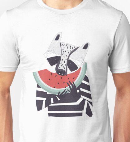 Raccoon eating watermelon Unisex T-Shirt