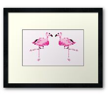 Pixel Flamingos Framed Print