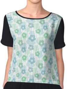 Beautiful transparent blue flower print Chiffon Top
