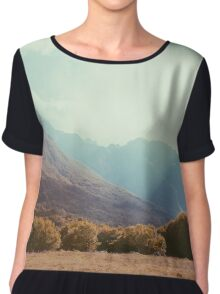Mountains in the background V Chiffon Top