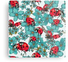 Happy Ladybugs with flowers Metal Print