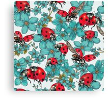 Happy Ladybugs with flowers Canvas Print
