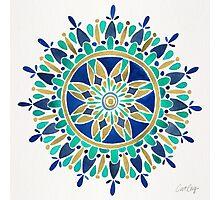 Mandala – Gold & Turquoise Photographic Print