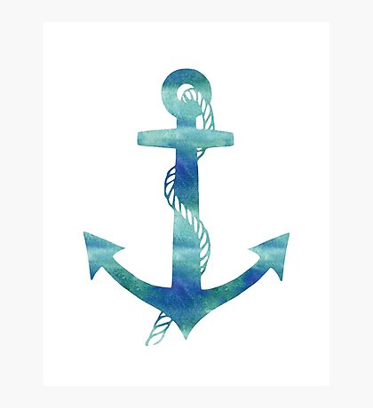 Watercolor Nautical Anchor Ocean Blue Photographic Print