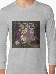 Vintage blue art - Charles Rennie Mackintosh  - Petunias Long Sleeve T-Shirt
