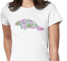 Manatee with Floral Garden Pattern Womens Fitted T-Shirt