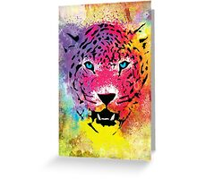 Tiger - Colorful Portrait - Paint Splatters and Stained Canvas Texture Art Prints Greeting Card