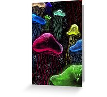 Colorful Jellyfish Black Background Greeting Card