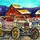 RED BARNS IN WINTER WITH ANTIQUE CAR AND HOCKEY RINK by Carole  Spandau