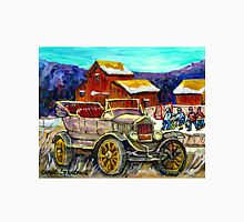 RED BARNS IN WINTER WITH ANTIQUE CAR AND HOCKEY RINK Unisex T-Shirt