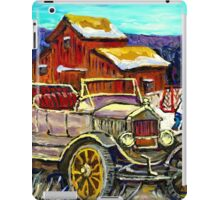 RED BARNS IN WINTER WITH ANTIQUE CAR AND HOCKEY RINK iPad Case/Skin