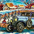 OUTDOOR RINK HOCKEY GAME MERCEDES BENZ ANTIQUE CAR CANADIAN LANDSCAPE CAROLE SPANDAU by Carole  Spandau