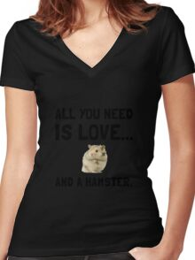Love And A Hamster Women's Fitted V-Neck T-Shirt