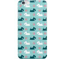 Turquoise Happy Scottie Print iPhone Case/Skin