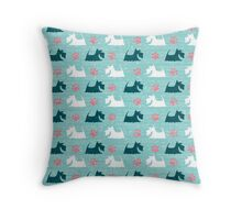 Turquoise Happy Scottie Print Throw Pillow