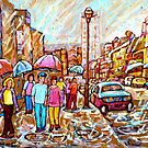 DOWNTOWN MONTREAL CRESCENT STREET RAIN SHOWERS URBAN SUMMER SCENES CANADIAN ART by Carole  Spandau