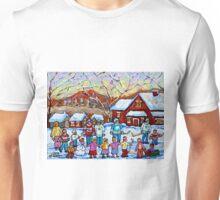 WINTER PALYGROUND PAINTING CANADIAN ART Unisex T-Shirt