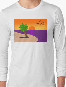 Tropical Island Scene Long Sleeve T-Shirt