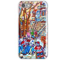 MONTREAL URBAN SCENE WINTER PLAYGROUND WINDING STAIRCASES iPhone Case/Skin