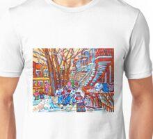MONTREAL URBAN SCENE WINTER PLAYGROUND WINDING STAIRCASES Unisex T-Shirt