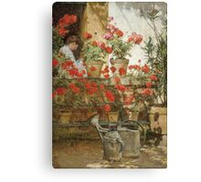 Vintage famous art - Childe Hassam - Geraniums Canvas Print