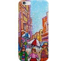 SNOW SHOWERS IN THE CITY MONTREAL URBAN SCENE CANADIAN PAINTINGS iPhone Case/Skin