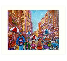 SNOW SHOWERS IN THE CITY MONTREAL URBAN SCENE CANADIAN PAINTINGS Art Print
