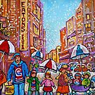 SNOW SHOWERS IN THE CITY MONTREAL URBAN SCENE CANADIAN PAINTINGS by Carole  Spandau