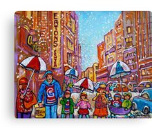 SNOW SHOWERS IN THE CITY MONTREAL URBAN SCENE CANADIAN PAINTINGS Canvas Print
