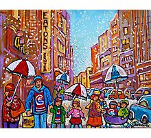 SNOW SHOWERS IN THE CITY MONTREAL URBAN SCENE CANADIAN PAINTINGS Photographic Print