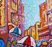 SNOW SHOWERS IN THE CITY MONTREAL URBAN SCENE CANADIAN PAINTINGS Sticker
