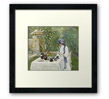Vintage famous art - Childe Hassam - French Tea Garden Framed Print