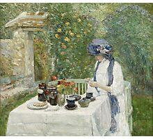 Vintage famous art - Childe Hassam - French Tea Garden Photographic Print