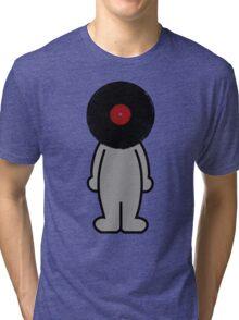 Vinylized!!! Vinyl Records DJ Retro Music Man T-Shirt Stickers Prints Tri-blend T-Shirt