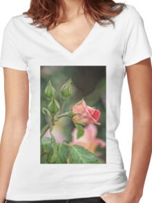 Texas Rose 2 Women's Fitted V-Neck T-Shirt