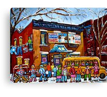 FAIRMOUNT BAGEL MONTREAL WITH STREET HOCKEY WINTER STREET SCENE ART Canvas Print