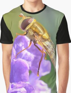 Hoverfly on Purple Flower Graphic T-Shirt