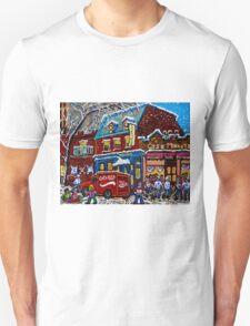 MONTREAL LANDMARK MOISHE'S STEAK HOUSE WINTER URBAN SCENE Unisex T-Shirt