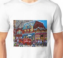 MONTREAL LANDMARK MOISHE'S STEAK HOUSE WINTER URBAN SCENE Unisex T-Shirt