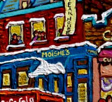 MONTREAL LANDMARK MOISHE'S STEAK HOUSE WINTER URBAN SCENE Sticker