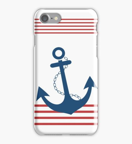 Nautical Striped Design with Anchor iPhone Case/Skin