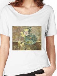 Vintage famous art - Childe Hassam - Roses In A Vase Women's Relaxed Fit T-Shirt