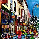 RUE ST.LAURENT WITH SCHWARTZ'S DELI WINTER MONTREAL CITY SCENE ART by Carole  Spandau